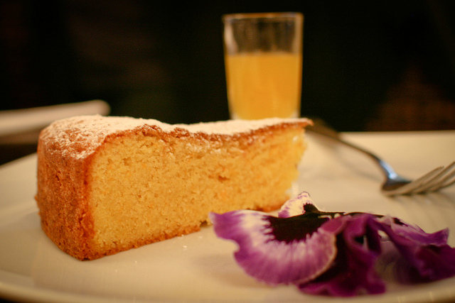 Orange Polenta Cake with Warm Cardamom Drizzle
