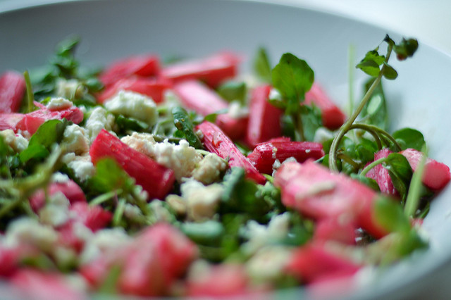 Roasted Rhubarb, Watercress and Feta Salad