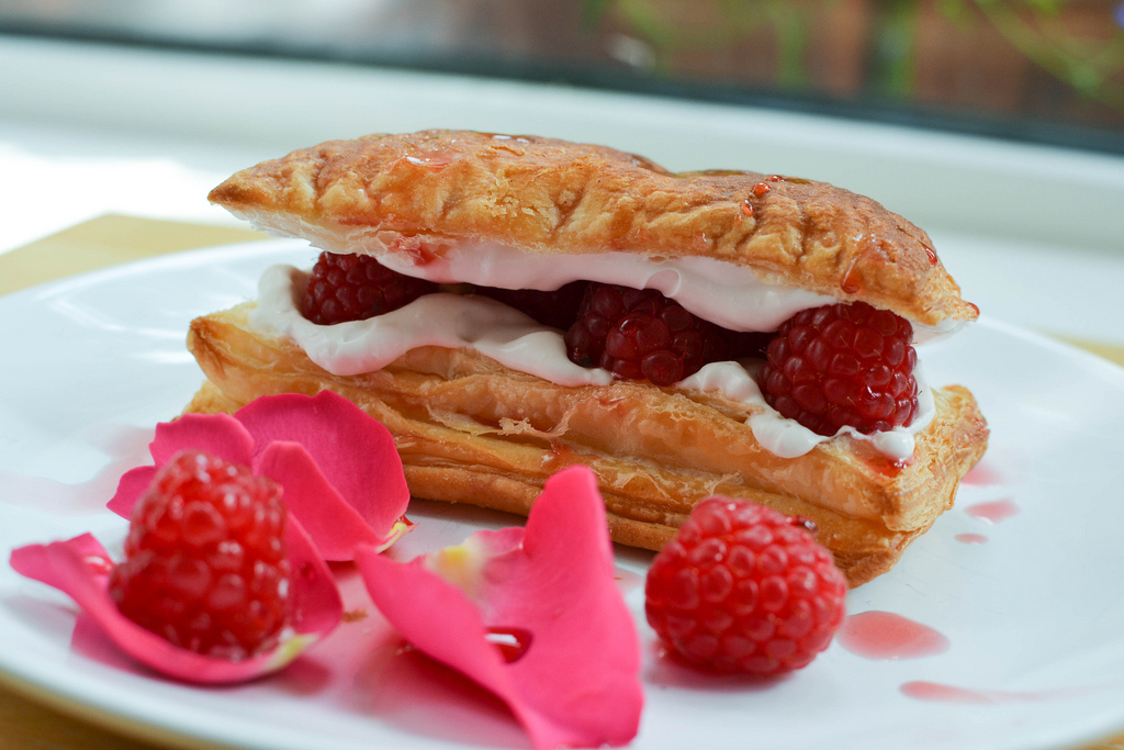 rose and raspberry millefeuille