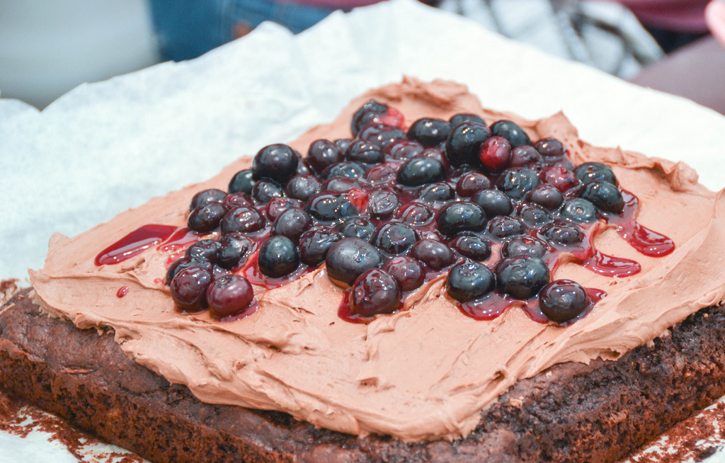 Courgette and Chocolate Brownie with Baobab and Chocolate Frosting and Hot Baobab Blueberries
