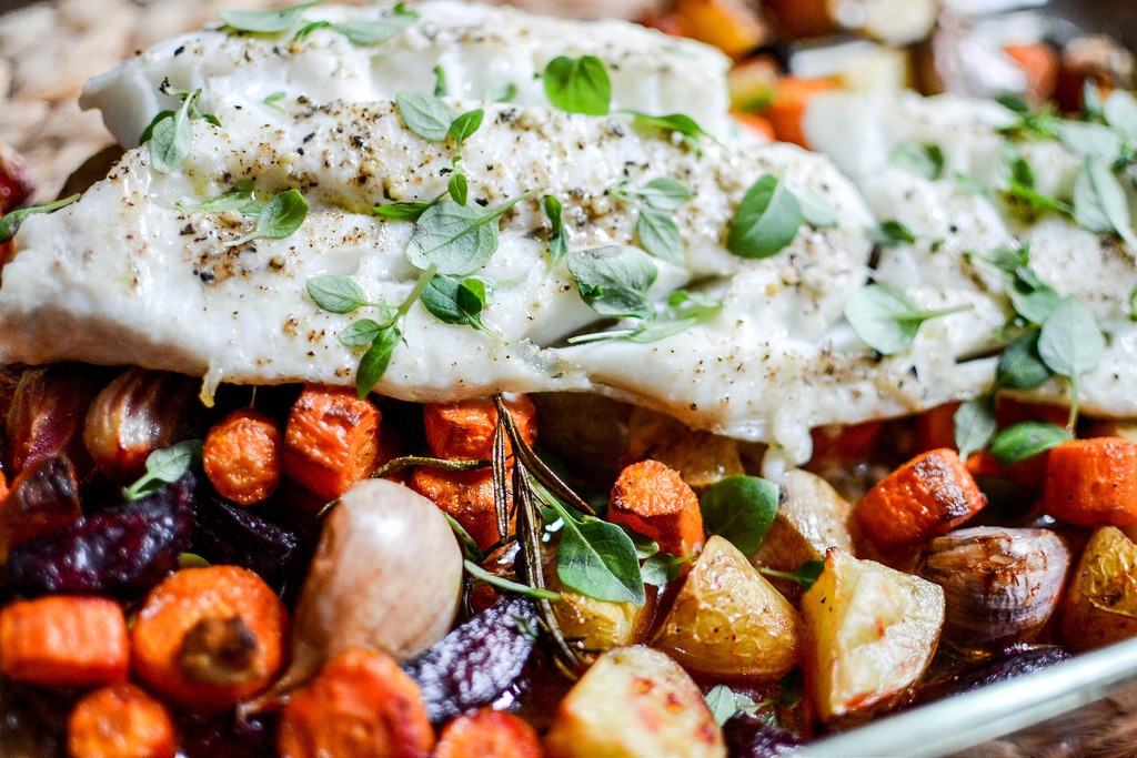 beetroot bake with white fish