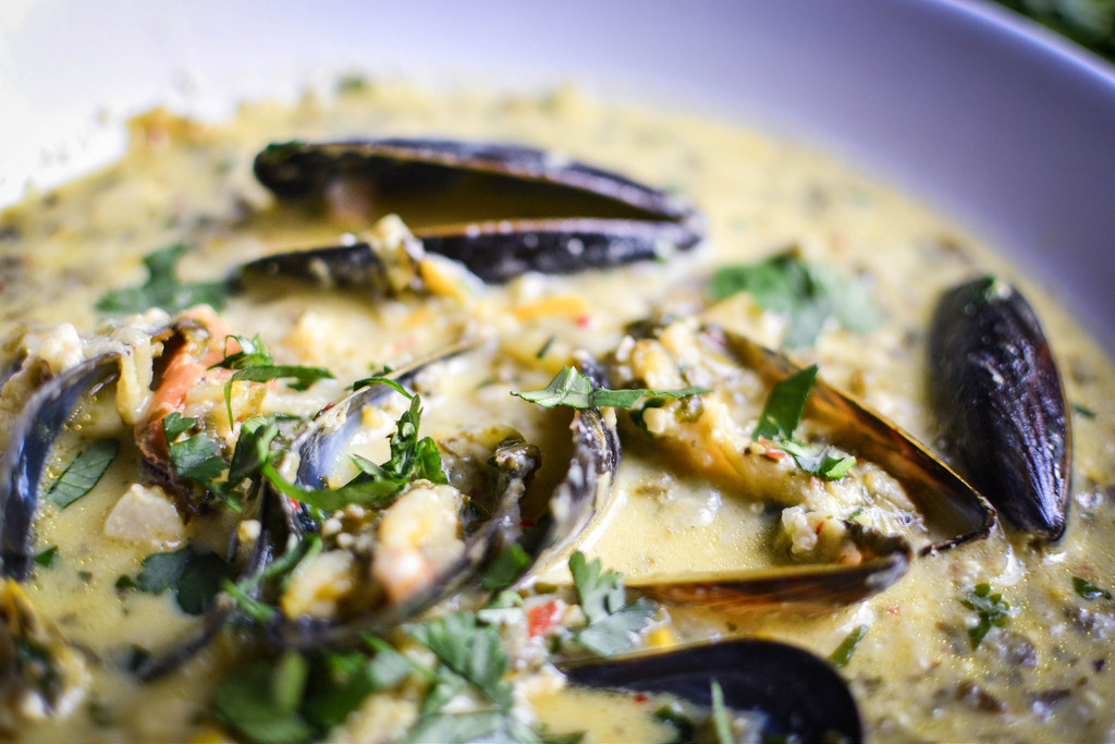 Thai Style Mussels with Courgettes