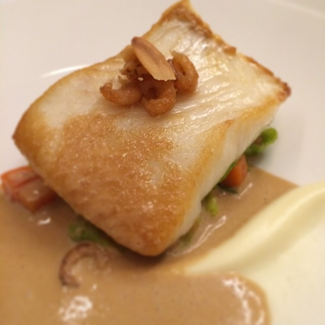 Pan Fried Brill, Brown Shrimp, Brussels Sprout Fricasse and Cognac Bisque with @audleyvillages