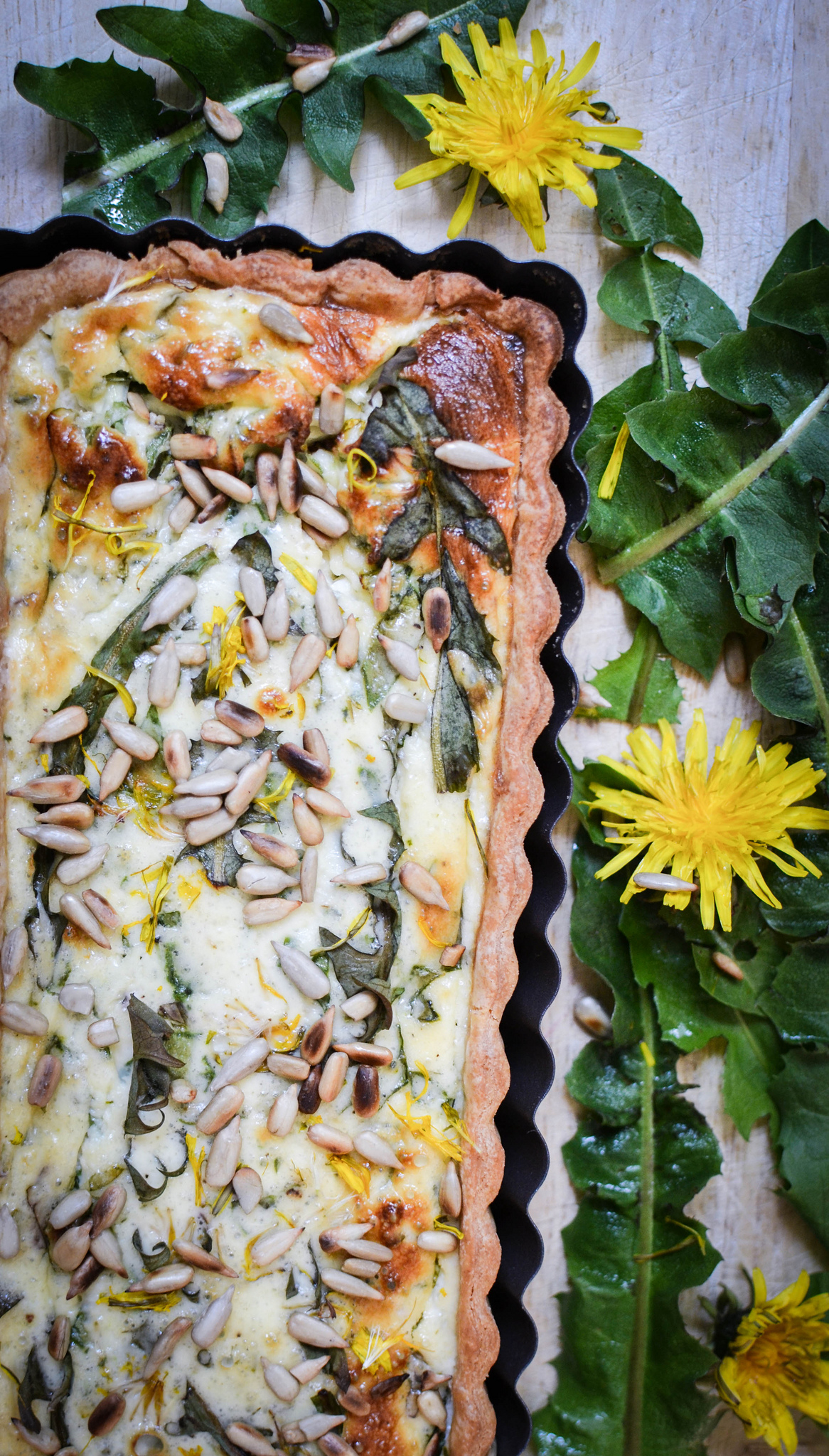 Dandelion and Feta Tart