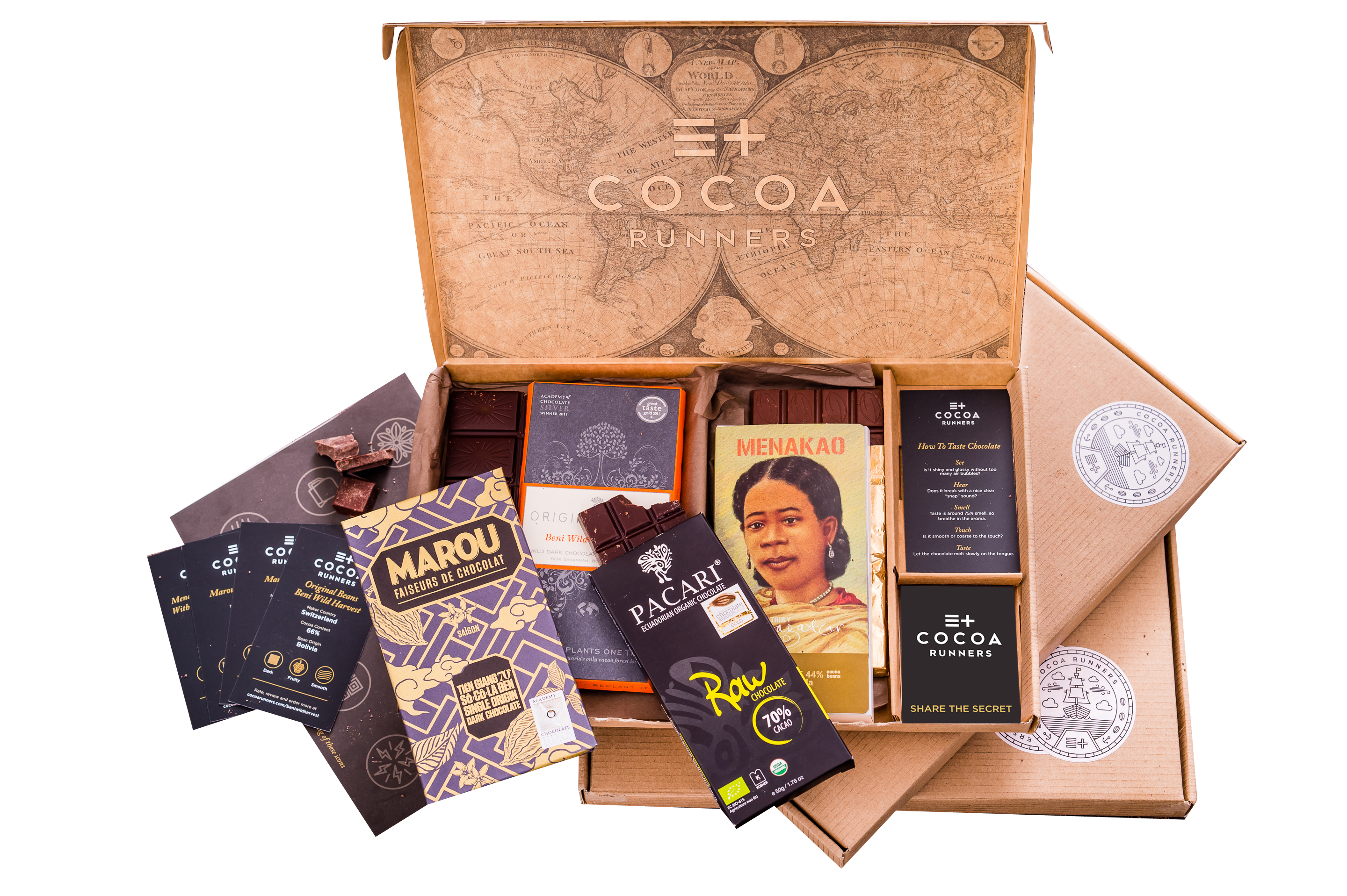 A box from cocoa runners contains tasting notes, specially selected bars from artisan chocolate makers around the world