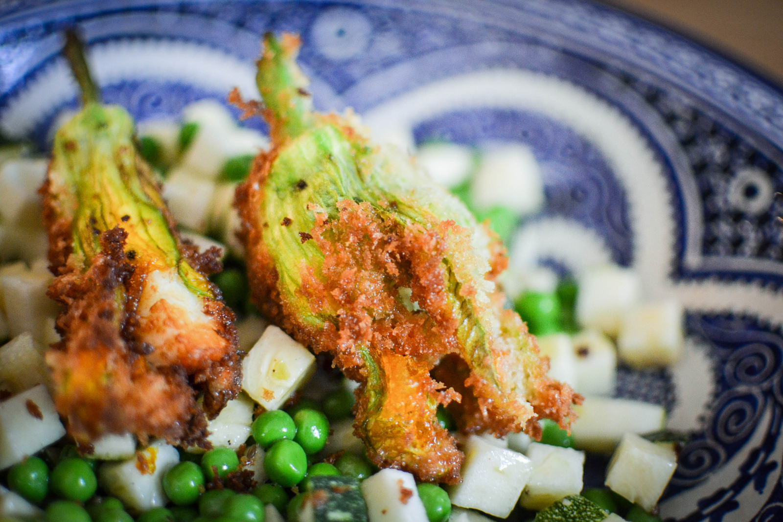Panko fried courgette flowers