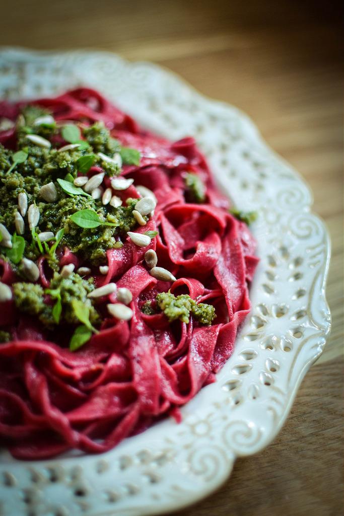 Beetroot Pasta, tagliatelle