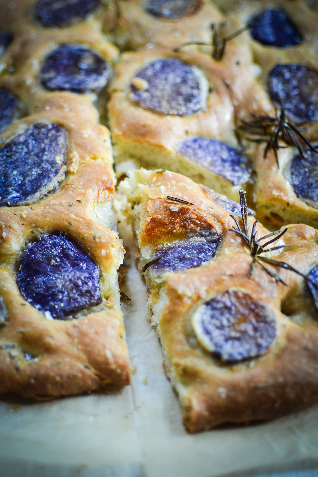 focaccia with purple majesty potatoes and rosemary