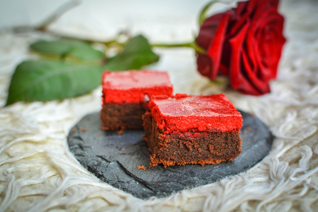 chocolate brownies with red cheesecake topping