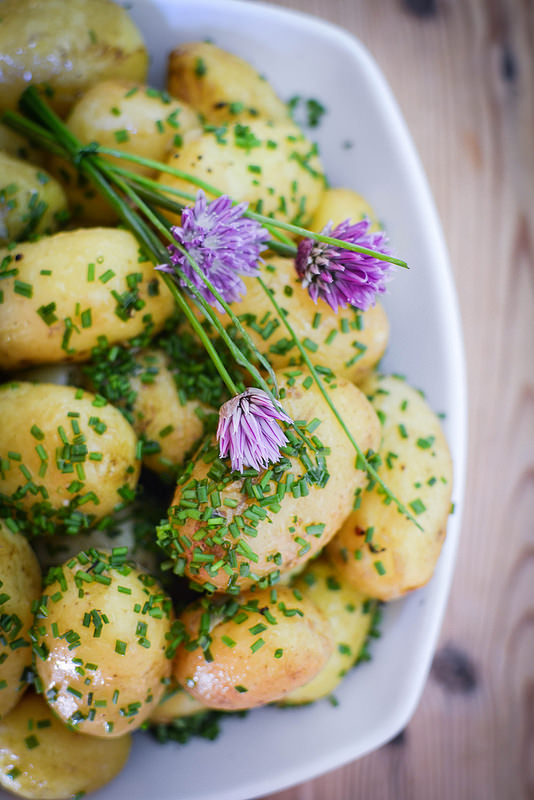 pembrokeshire early potatoes boiled with chives and butter