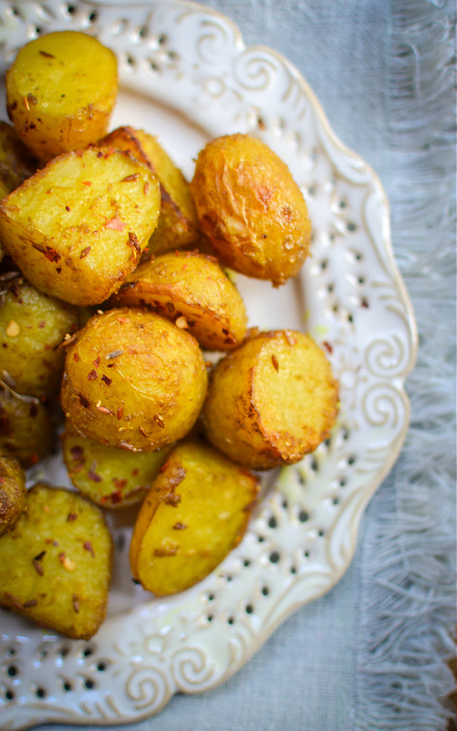 pembrokeshire early potatoes roasted in turmeric and chilli powder