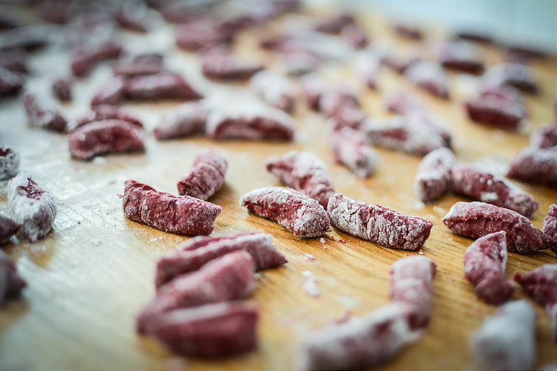 Beetroot Gnocchi Sausages ready to cook