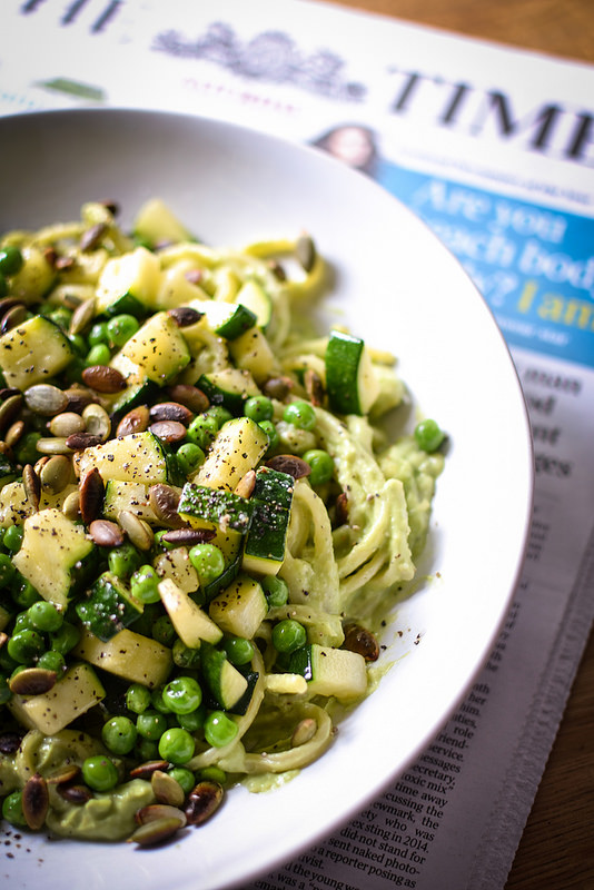 Linguine with Avocado Pesto, Courgette and Peas Copyright Urvashi Roe 2016