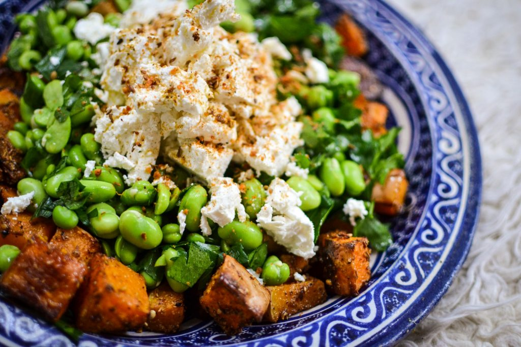 winter squash, broadbean and feta salad
