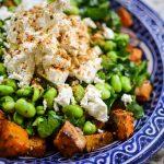 winter squash, broadbean and feta salad