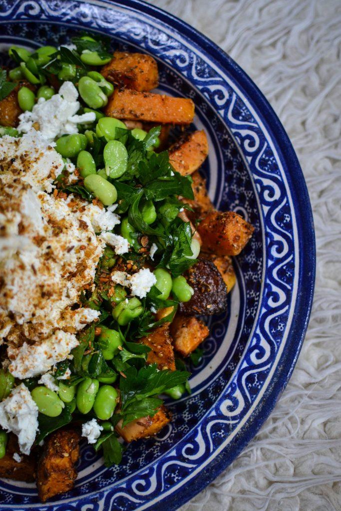 squash, dukkah, broad bean salad
