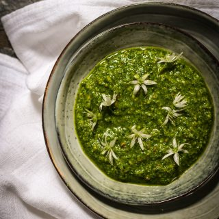 pesto, wild garlic, seeds