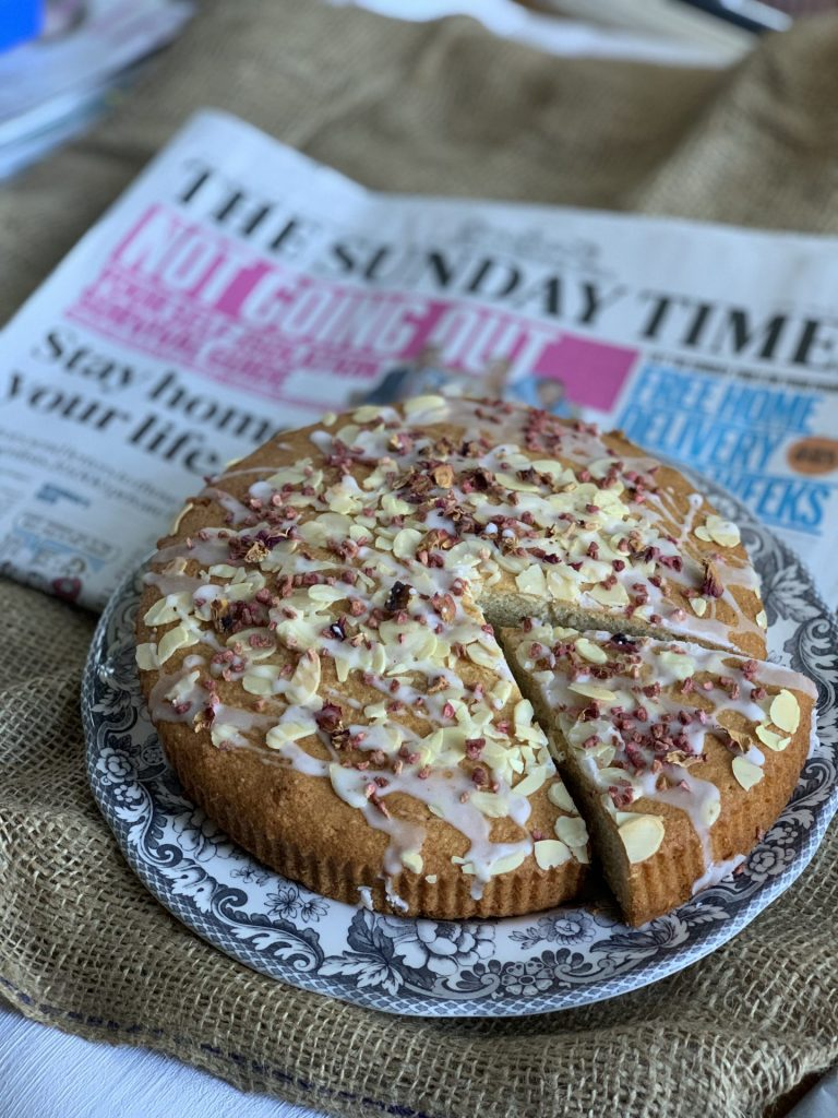 Cake, rose , almond